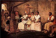 Een schilderij van Afrikaanse slavenvrouwen die wachten op de verkoop, in Richmond, Virginia, USA, 1853.