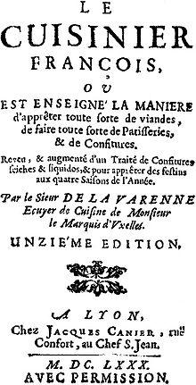 """Pirmasis La Varenne knygos """"Le cuisinier françois"""" puslapis"""