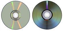 Twee soorten dvd's: Enkellaags (links) en dubbellaags (rechts).