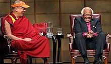 Leiders in twee religieuze instellingen, de Dalai Lama (boeddhistische) en Aartsbisschop Desmond Tutu (Anglicaanse)