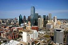 Het centrum van Dallas, Texas, is een Democratisch bolwerk.