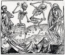 Animierte Skelette aus La Danse Macabre von Hans Holbein dem Jüngeren (1538)