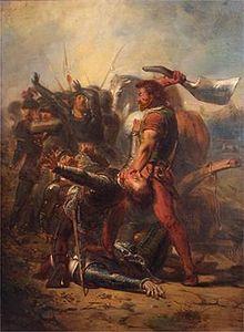 """Gemälde von Donia und Jelckama, die für die Freiheit seines Volkes kämpfen. Das Gemälde heißt: """"Dapperheid van Grote Pier"""", was bedeutet: """"Tapferkeit von Greate Pyr""""."""