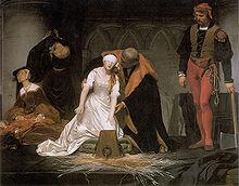 Леди Джейн Грей готовится приложить шею к блоку. В Англии большинство обезглавливаний производилось топором и блоком.