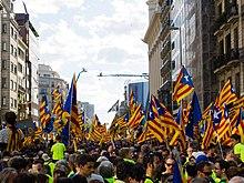 Pro-onafhankelijkheidsaanhangers in Barcelona op 11 september 2017.