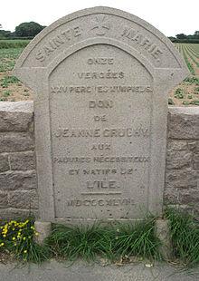 Kamień z napisem opisuje ten 11 vergée 25 perch clos des pauvres w Jersey