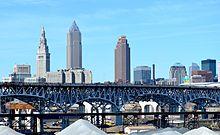 Die Innenstadt von Cleveland von Tremont aus gesehen.
