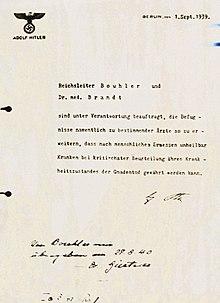 Hitler's order voor Actie T4