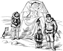 Eine Zeichnung einer Eskimo-Familie