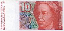 纪念欧拉的旧瑞士10法郎纸币。