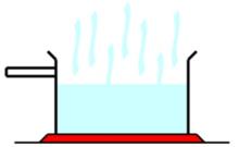 Ein einfaches Bild, das die Verdunstung von Wasser erklärt, obwohl man im wirklichen Leben nicht das Wasser, sondern nur Dampf sehen kann