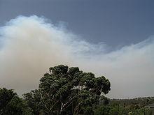 De rook van de Kilmore Fire, die op 7 februari over Melbourne werd geblazen.
