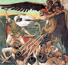 Op dit schilderij is Väinämöinen de persoon aan de linkerkant met een zwaard. Hij vecht tegen Louhi, de slechte leider van Pohjola