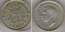 Sześciopensówka z 1946 r. przedstawiająca Jerzego VI