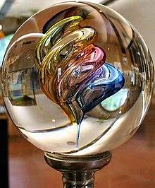 Μια γυάλινη μπάλα με χρωματιστά γυάλινα σχήματα στο εσωτερικό της
