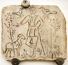 Vierde-eeuwse inscriptie, voorstellende Christus als de Goede Herder.