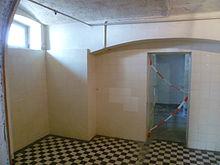De gaskamer in Hadamar. Gevangenen werden hierheen gestuurd om vermoord te worden tussen 1942-1944.