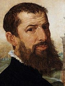 Marten van Heemskerck, zelfportret (detail)