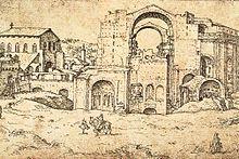 Bouw van nieuwe Sint Pieter in Rome door Maerten van Heemskerck (c.1536, Staatliche Museen, Berlijn)