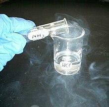 Zoutzuur (in bekerglas) reageert met ammoniakdampen om ammoniumchloride (witte rook) te produceren.