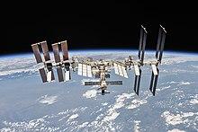 Het internationale ruimtestation, gezien door een Sojoez-ruimteschip