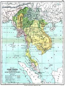 Чочина показан на восточном побережье этой карты Индо-Китая 1886 года.