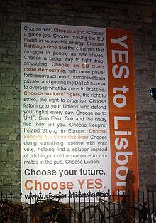 Doporučení irské vlády hlasovat v roce 2009 pro Lisabonskou smlouvu.