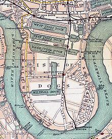 1899年に犬の島の地図上に見える西インドドックとミルウォールドック