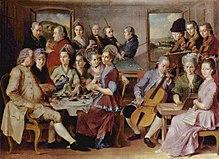 The Family Remy van Januarius Zick, ca. 1776, met o.a. een biljartzaal.