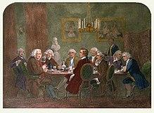 Een literair feest bij Sir Joshua Reynolds. De persoon in de blauwe jas rechts is Oliver Goldsmith - gebruik de cursor om de anderen te identificeren.