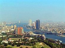 Het stadscentrum van Caïro, gezien vanaf de Caïro-toren.