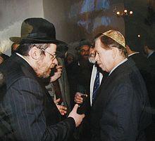 Václav Havel i Karol Sidon (po lewej), jego przyjaciel i późniejszy główny czeski rabin