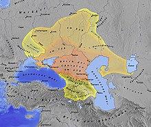 ロシアのトルコ系カザール帝国。カザール人は中央アジアとモンゴルを中心とした東方から来ていた。