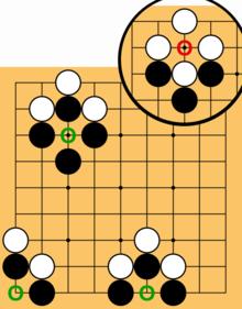 Esempi di quando si applica la regola Ko. Se il giocatore bianco mette una pietra nei cerchi verdi e cattura una pietra nera, l'altro giocatore non può catturare subito la pietra bianca - deve prima giocare da qualche altra parte sul tabellone.