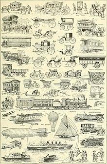 Veel verschillende soorten voertuigen, waaronder wagons, trams, treinen, auto's, fietsen, ballonnen, vliegtuigen, schepen, luchtschepen en jachten.
