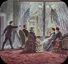 Afgebeeld in de presidentiële cabine van Ford's Theatre, van links naar rechts, zijn de moordenaar John Wilkes Booth, Abraham Lincoln, Mary Todd Lincoln, Clara Harris, en Henry Rathbone.