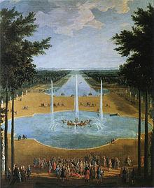 Lodewijk XIV (in rolstoel, voorgrond) bij de Fontein van Apollo