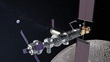 """Een tekening van een toekomstig ruimtestation op de maan. NASA noemde het een """"Lunar Gateway"""""""