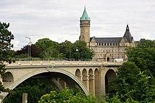 Adolphe-Brücke über den Fluss Pétrusse und Sitz der Spuerkeess-Bank.