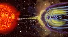 Deze figuur toont de magnetosfeer die de door de zon veroorzaakte zonnewind tegenhoudt.