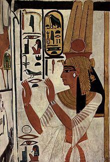 Grafmuur met afbeelding van Nefertari