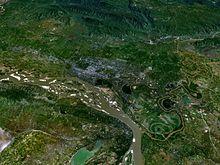 Mandalay metropoolgebied gezien vanaf de satelliet