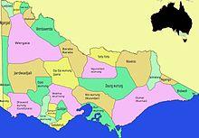 Kaart Victoria Aboriginal stammen (kleurenkaart)