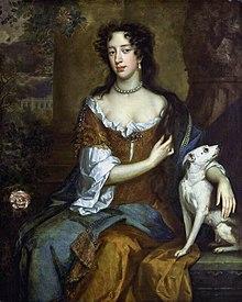 Maria van Modena in het jaar dat haar man koning werd, 1685. Schilderij naar Willem Wissing.