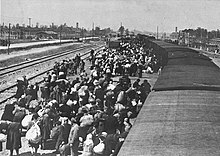 Karpatische Ruthenische Joden komen aan in Auschwitz-Birkenau, mei 1944. De meesten werden uren na aankomst gedood in gaskamers.