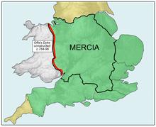 De omvang van Mercia tijdens de Mercian Supremacy, met de lijn van Offa's Dyke (rood)
