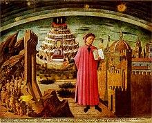 Dante geschilderd door Domenico di Michelino, 1465