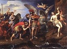 Cepheus en Cassiopeia danken Perseus voor het redden van hun dochter Andromeda, La Délivrance d'Andromède (1679) Pierre Mignard, Louvre