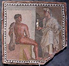 Mozaïek van Orestes, hoofdpersoon in Aeschylus' trilogie, De Oresteia