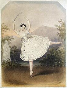 Handgekleurde litho gedateerd 1843 door Jules Bouvier van Adèle Dumilâtre als Myrtha in Giselle (Verzamelingen van het Victoria and Albert Museum, Londen)